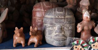 Hand made ancient olmec figurines royalty free stock photography