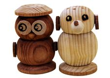 Hand-made animal salt and pepper shakers Stock Photography