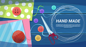 Hand Made Art Work Handcraft Products Creation Process Top Angle View. Flat Vector Illustration Stock Images