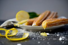 Lemon meringue Churro. Hand made artisan churros with new creative flavors Stock Photography