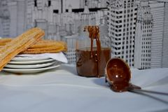 Churros. Hand made artisan churros with new creative flavors in a styled product shoot Royalty Free Stock Photography