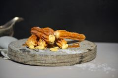 Salted Bouron Churros. Hand made artisan churros with new creative flavors in a styled product shoot Stock Images