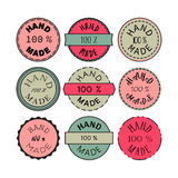 Hand Made Badge. Badge template with 100 handmade product symbol. Vintage sticker with text 100 hand made. 100 Percents Hand Made Design Element, Label, Insignia Royalty Free Illustration