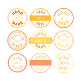 Hand Made Badge. Badge template with 100 handmade product symbol. Vintage sticker with text 100 hand made. 100 Percents Hand Made Design Element, Label, Insignia Stock Illustration