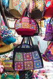 Hand-made bag. Group of different traditional hand-made bag thai designs Stock Photo