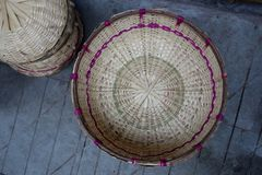 Hand Made Baskets in the Market of Almora royalty free stock photography