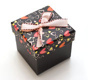 Hand-made beautiful black gift box Stock Photos