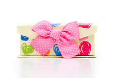 Hand-made beautiful yellow gift box Royalty Free Stock Photo