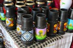 Hand made black pottery in Marginea, in Bucovina. Romania stock image
