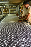 Hand made block printing indigo textile industry Royalty Free Stock Photography
