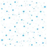 Hand made blue stars snow vector pattern. Happy New Year and christmas holidays background banner. Royalty Free Stock Photography