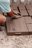 Worker making bricks with clay Royalty Free Stock Photo