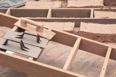 Hand made bricks with clay. Prepare mud for make bricks stock images