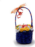 Hand made busket with flowers Royalty Free Stock Photography
