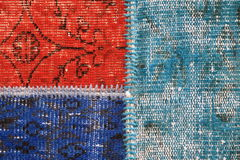 Hand made carpet. Red and blue Hand made Turkish Rug Stock Images