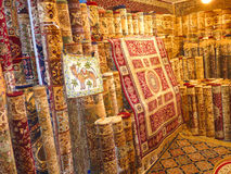 Hand Made Carpets. On Display Hand Made Luxury Carpets Royalty Free Stock Photos