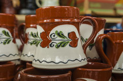 Hand made ceramic mugs Royalty Free Stock Images