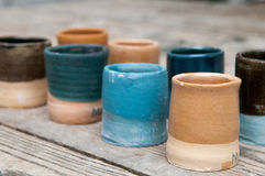 Hand made ceramic pottery products Royalty Free Stock Images