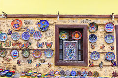 Hand made ceramics display at a street bazaar. Stock Image