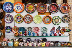 Hand made ceramics display at a street bazaar. Stock Photos