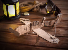 Hand made children airplane on wood table Royalty Free Stock Image