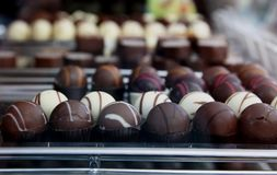 Hand made chocholate bonbons Royalty Free Stock Images