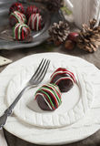 Hand made Chocolate candy on holiday table Stock Photos