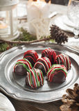 Hand made Chocolate truffle on holiday table Royalty Free Stock Image