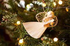 Christmas angel made of corn husk stock images