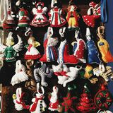 Hand-made Christmas felted toys in Szentendre, Hungary. Felted toys in national traditional dresses Stock Image