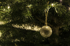 Hand made christmas toy on the tree Stock Image