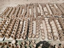 Hand made clay glass Stock Photos