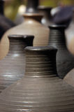 Hand made clay jugs Stock Images