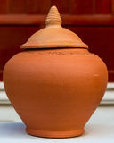 Hand made clay pot with lid Royalty Free Stock Image