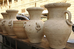 Hand made clay pots for sale Royalty Free Stock Image