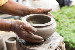 Hand made clay pots , Thai traditional pottery Royalty Free Stock Photo