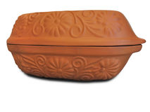 Hand made clay vessel isolated Stock Photography
