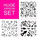 Hand made collection of arrows isolated on white background. Stock Photos