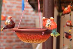 Hand made colorful bird feeder Royalty Free Stock Photos