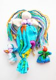 Hand-made colorful dolls on white background Stock Photo