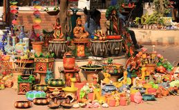 Hand made colorful indian toys and pots made up of Stock Photography