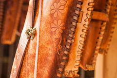 Hand made colorful leather little bags in Mexican market Stock Photos