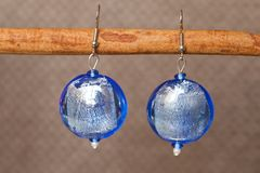 Hand-made coloured earrings Royalty Free Stock Photo