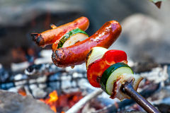 Hand made cooking on campfire. Royalty Free Stock Photography