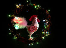 Hand made craft roosters decorations. Happy New Year and Merry Christmas holiday template card. Royalty Free Stock Images