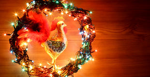 Hand made craft roosters decorations. Happy New Year and Merry Christmas holiday template card. Royalty Free Stock Photos