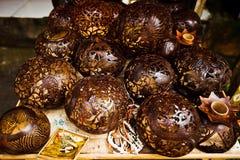 Hand made decor bazaar wood craft souvenir Royalty Free Stock Images