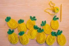 Hand made decorations - crocheted pineapple. Handmade  crochet pineapple Royalty Free Stock Photos