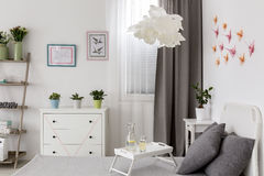 Hand made decorations. Inspiring bright bedroom with pastel hand made decorations Royalty Free Stock Photography