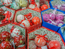 Hand made decorations at market for Christmas month Royalty Free Stock Images